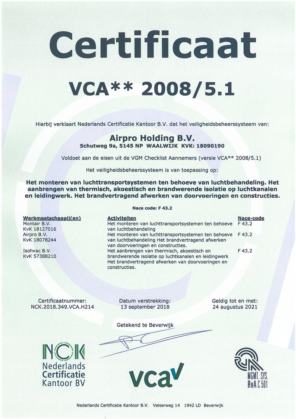 VCA-certificaat 2015